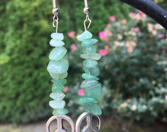 Green Crystal Drop Earrings, with Peace Symbol