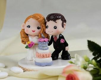Handmade polymer wedding cake topper