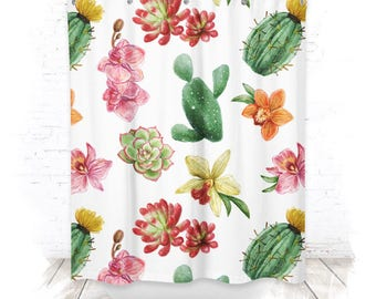 Shower curtain / shower curtain 150cm cacti