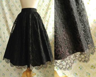 1950s black lace circle skirt