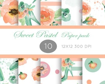 Paper pack pastel colors, Floral paper pack, Floral illustration, Flower images, soft pastel illustrations, Pink green watercolor, aquarelle