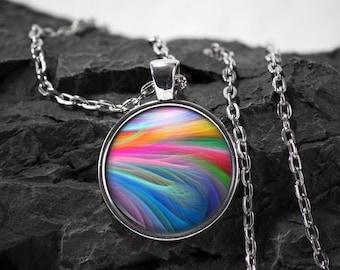 Rainbow smoke Glass Pendant rainbow necklace rainbow jewelry photo pendant art pendant photo jewelry art jewelry glass jewelry glass bezel