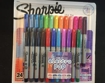 NEW Sharpie Electro Pop Permanent Markers Ultra Fine Point Assorted Colors 24 Count