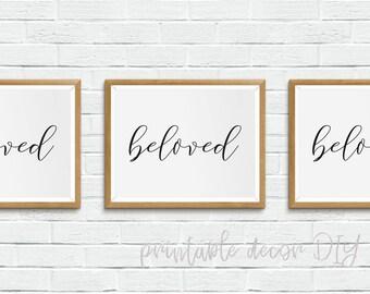 beloved -Printable bible verse, scripture printable, above bed decor, minimalist poster, printable scripture