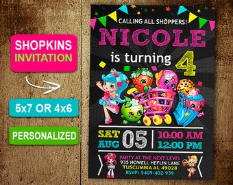 Shopkins Invitation Etsy - Blank shopkins birthday invitations