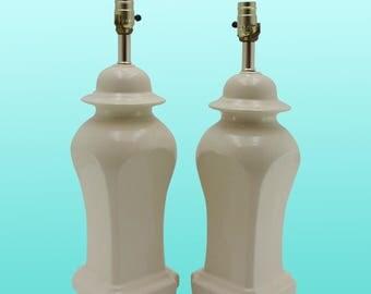 Mid-century Porcelain Table Lamps, A Pair - Vintage Porcelain Lamps