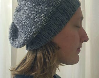 White and Gray Hand-Knit Slouchy Winter Hat