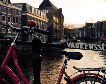 Amsterdam Bicycle on Canal - Photography Fine Art Print, Wall Picture, Living Room Print, Sunset, Travel Photography, Holland Bicycle Print