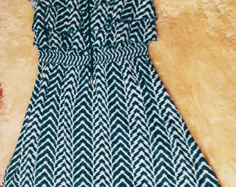 Teal Chevron High-Low Boho Dress