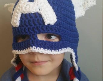 American Super Hero Captain America Crocheted Hat with Red White and Blue Braids