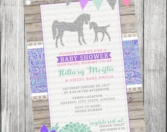 Rustic Horse, Paisley Baby Shower Invitation