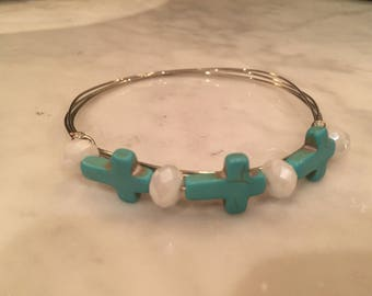 Silver Wire Bangle with Small Turquoise Crosses