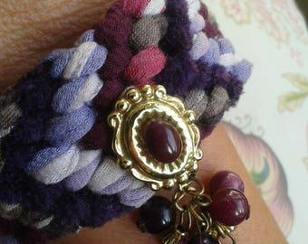 mauve and purple removable charm bracelet