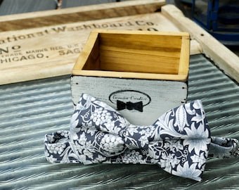 Blue Floral Bow Tie Handmade