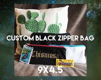 Custom Black Flat Zipper Pouch   Chingona   Chismosa   Hermosa   Chula  