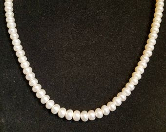 Vintage button Pearl necklace 16 inches sterling clasp fresh water pearl?