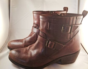 MIA Dark Brown Ankle Boots With Zipper