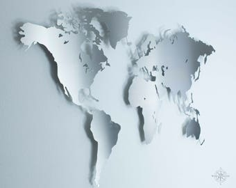 Stainless steel world map-Wall decoration (mural, steel, metal, modern, Deco)