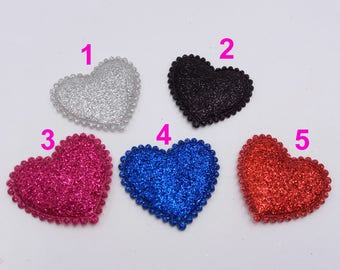 20pcs/Lot Gliter Padded Heart Appliques for Cards