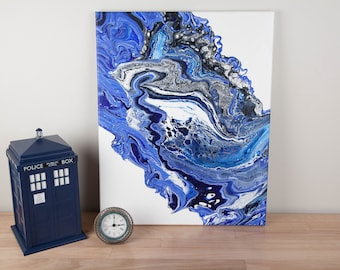 Blue and White Fluid Acrylic Painting