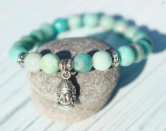 Truth and Courage ॐ Amazonite Buddha Mala Bracelet