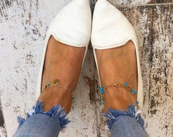 Turqouise Blue Gold Boho Anklets - Bohemian Jewelry - Beach Anklets
