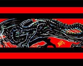 Alien Red Movie Pop Art 17X11 Print