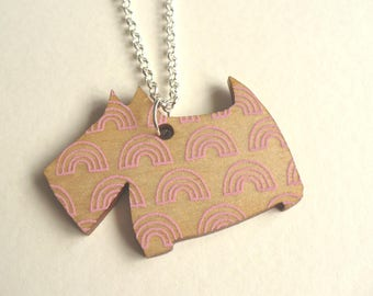Scotty Dog Pendant - Scottish Terrier Necklace - Purple & Pink - Wooden Laser Cut Necklace - Scottie Dog Necklace - Rainbow/Mountain Print