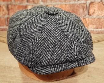 Mister Miller - ALBERT - Harris Tweed Wool - Herringbone Charcoal Grey - Peaky Blinders - Newsboy Bakerboy Cap
