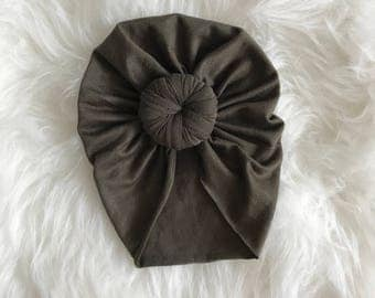 Olive TotKnot baby turban headwrap