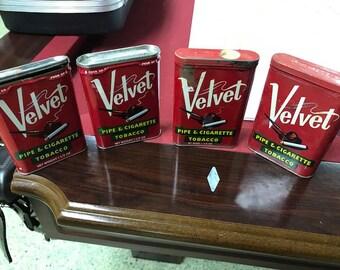 4 Velvet Tobacco Tins 1960's