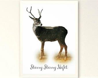 Starry Night Wall Art / Reindeer Photography Art