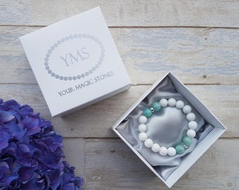 Mother of pear and amazonite bracelet