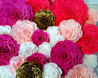 12 giant crepe Paper Flowers Wall Photo backdrop Decor pink gold large Nursery Bridal Shower Baby Weding Party Decor Flowers birthday sweet