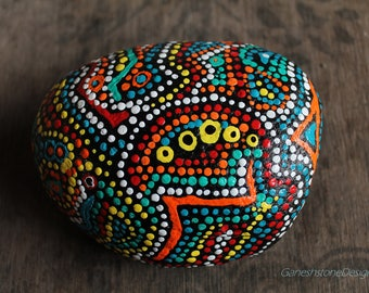 Hand painted stone, Tribal