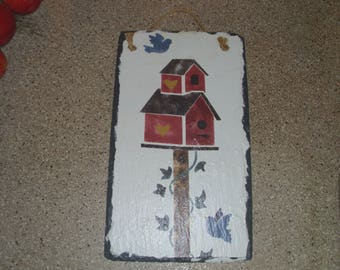 Beautiful Painted Slate Hanging with Birdhouses, Birds, and Vines