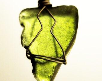 Green Beach Glass Pendant