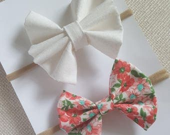 Floral and White Bow Set- Classic Bow, Flare Bow, Nylon Headband- Alligator Clip- Floral Bows- Baby- girl- Toddler- Kids