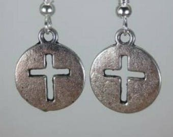 Silver cross cut out dangle earrings