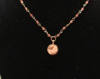 Rose Gold Necklace with Coral Crystal Pendent
