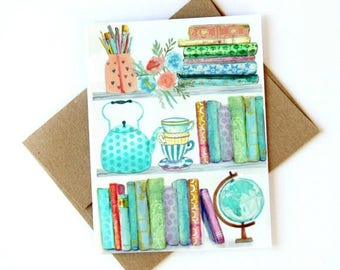 Watercolor Bookshelves Card