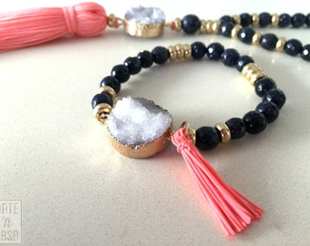 Faceted blue aventurine, white druzy and pink tassel beaded bracelet