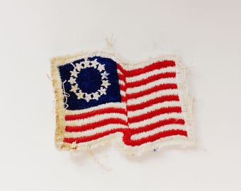 Vintage 13 Star American Flag Patch, Patriotic, Red White Blue, America