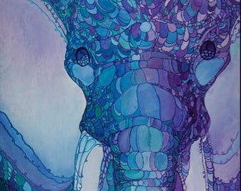 Elephant painting stretched canvas print