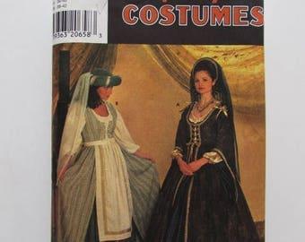 Medieval Dress, Renaissance Dress, Hat, Veil Adult Size Simplicity 7756 - Uncut
