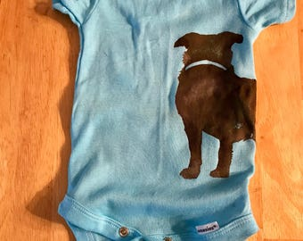Dog silhouette infant onsie made to order