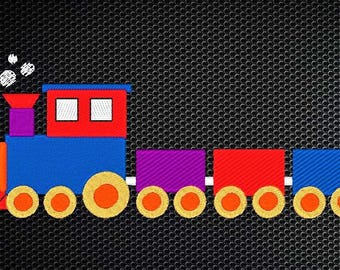 Train Embroidery Design - 4x4 & 5x7 Inches Instant Download!
