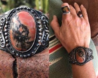 Old Pawn, Vintage Native American Bracelet, Fred Harvey Bracelet, Petrified Wood Silver Cuff Bracelet, Navajo Bracelet, Southwest Jewelry
