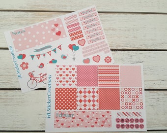 Valentine's Day Mini Happy Planner Weekly Kit, February, Hearts