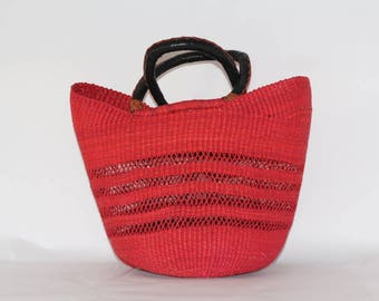 Red Woven Large Basket Bag